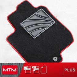 es. tappeto guidatore MTM Plus - battitacco in gomma - bordo rosso cotone antiscivolo