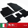 es. set tappetini  MTM Plus neri - bordo nero cotone antiscivolo - battitacco moquette nera